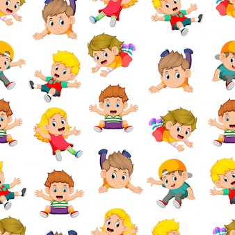 Seamless pattern with children flying