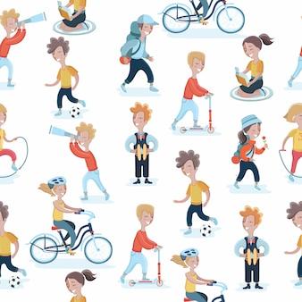 さまざまなアクションで子供たちとのシームレスなパターン