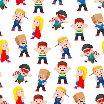 Seamless pattern with children posing like the super heroes