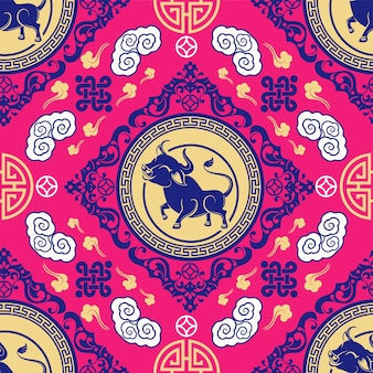 Seamless pattern with chinese new year zodiac year of the ox sign with asian elements