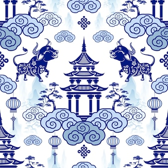 Modello senza cuciture con il nuovo anno cinese dello zodiaco anno del segno di bue con elementi asiatici