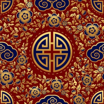 Seamless pattern with chinese ornaments