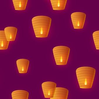 Безшовная картина с китайскими небесными фонариками запустила в ночное небо на празднике