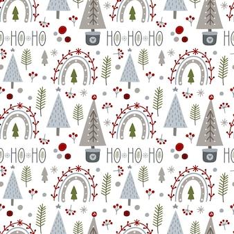 Бесшовный фон с рождеством и новым годом с рождественскими елками радуги и зимними элементами