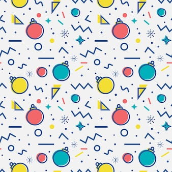 Seamless pattern with christmas balls and abstract geometric shapes in memphis style