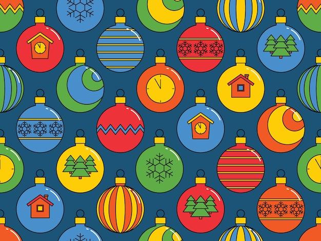 クリスマスボール、明るいお祭りの背景とのシームレスなパターン。 。