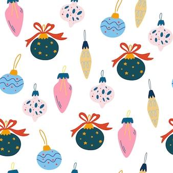 Бесшовный фон с елочными шарами. рождественские и новогодние украшения. идеально подходит для праздничных приглашений, зимних поздравительных открыток, обоев и подарочной бумаги. векторная иллюстрация