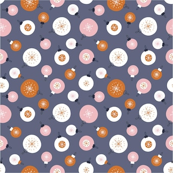 Seamless pattern with christmas balls on a dark background. vector illustration in scandinavian style.