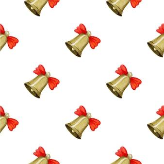 크리스마스 벨 벡터 일러스트와 함께 완벽 한 패턴