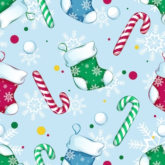 Seamless pattern with christmas boots, striped candies, snowballs and confetti and snow on a blue background.