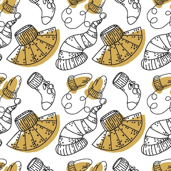 Seamless pattern with christmas clothing elements contour and silhouette