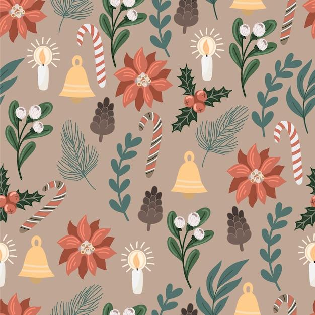 クリスマスの装飾と花とのシームレスなパターン。