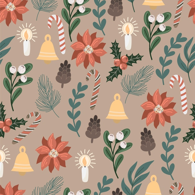 Seamless pattern with christmas decor and flowers.