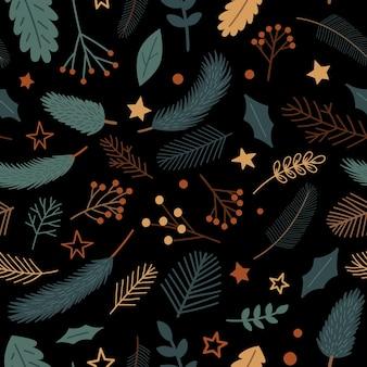 Бесшовный фон с рождественскими украшениями сосновые ветки ягоды омелы звезды и растения