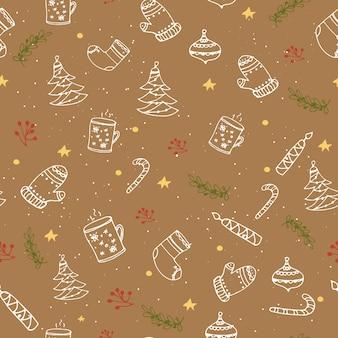 クリスマスの装飾とシームレスなパターン。ベクトル図。