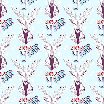 크리스마스 사슴 및 새 해 글자와 함께 완벽 한 패턴입니다. 벡터 배경