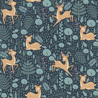 Seamless pattern with christmas deer on a blue background.