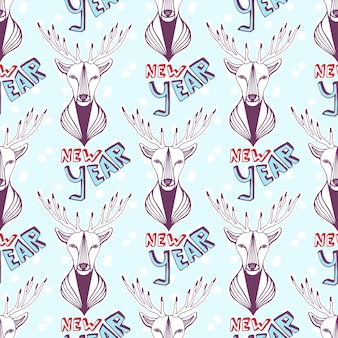 Seamless pattern with christmas deer and new year lettering. vector background