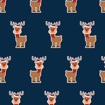 Seamless pattern with christmas deer