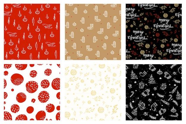 クリスマスのデザインとシームレスなパターン。ベクトル図。