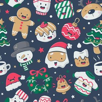 크리스마스 요소와 원활한 패턴