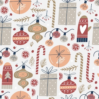 Seamless pattern with christmas elements. for fabric, wrapping paper and other decoration.