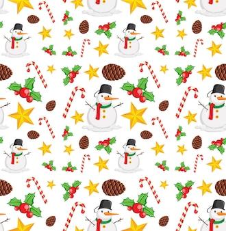 Бесшовный фон с элементами рождества на белом фоне