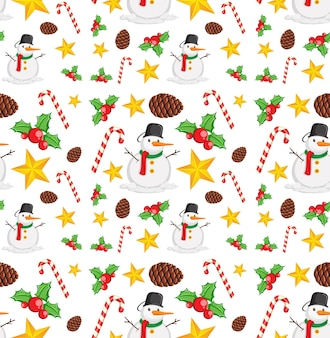 Seamless pattern with christmas elements on white background