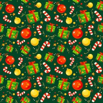 クリスマスの要素とのシームレスなパターン