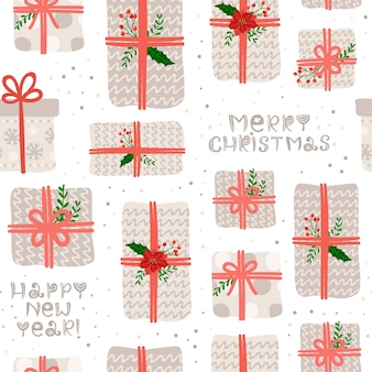 Seamless pattern with christmas gifts and lettering