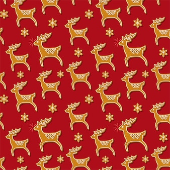 순록 모양의 크리스마스 진저브레드 쿠키와 눈송이가 있는 매끄러운 패턴