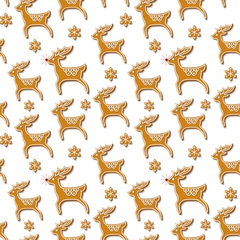 Seamless pattern with christmas gingerbread cookies in the shape of a reindeer and snowflakes on a white background. ..