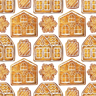 Seamless pattern with christmas gingerbread houses. endless ornament with ginger cookies