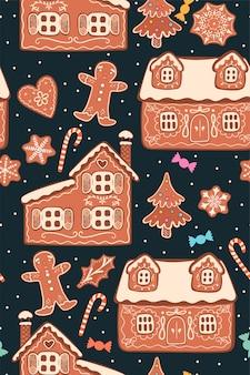 Бесшовный фон с рождественскими пряниками.