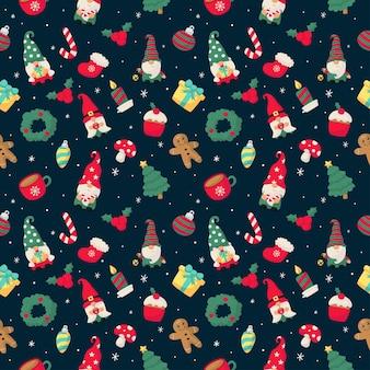 Бесшовный фон с рождественскими гномами, изолированными на синем фоне