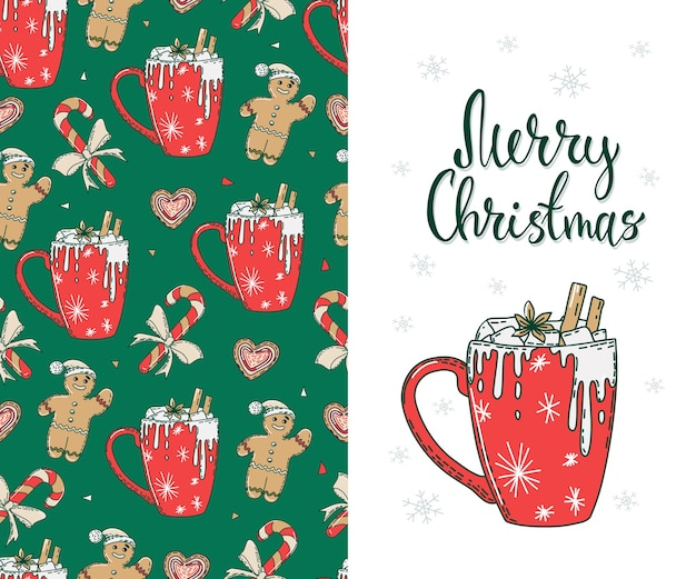 Seamless pattern with christmas hot drinks and gingerbread cookies.