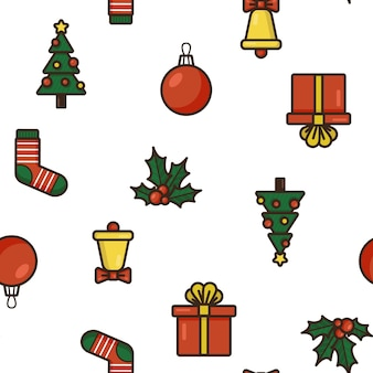 Seamless pattern with christmas items. cute vector background in flat style.