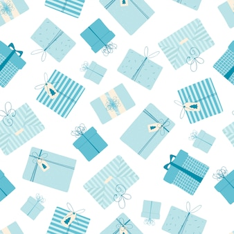 Seamless pattern with christmas and new year gifts