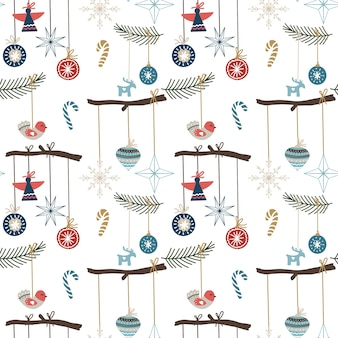 Seamless pattern with christmas ornaments, snowflakes, candies and trees