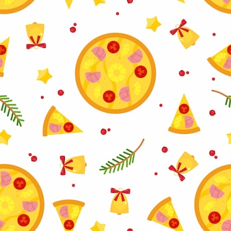 Seamless pattern with christmas pizza, spruce branches and jingle bells.