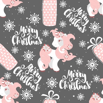 Seamless pattern with a christmas pony Premium Vector