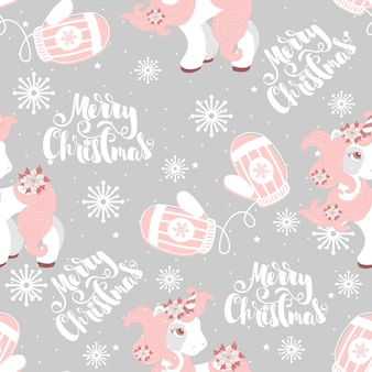 Seamless pattern with a christmas pony