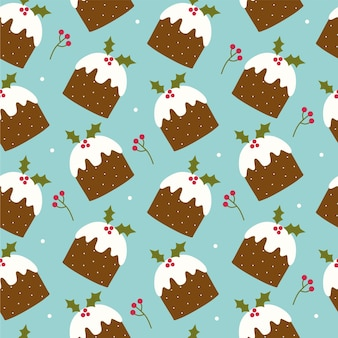 Seamless pattern with christmas pudding and berries