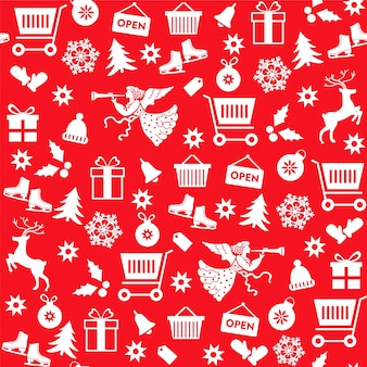 Seamless pattern with christmas sale symbols on red background.