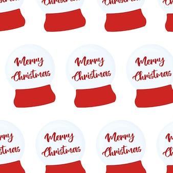 Бесшовный фон с рождественский снежный шар на красной подставке снежный шар снежный шар с