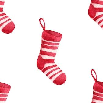 クリスマスの靴下、水彩画とのシームレスなパターン
