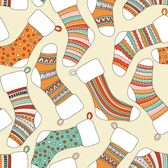 Seamless pattern with christmas socks. can be used for desktop wallpaper or frame for a wall hanging or poster,for pattern fills, surface textures, web page backgrounds, textile and more.
