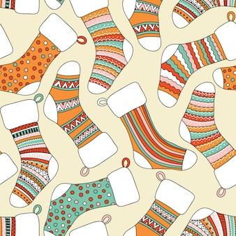 Бесшовный фон с рождественскими носками. может использоваться в качестве обоев для рабочего стола или рамки для настенного крепления или плаката, для заливки узором, текстуры поверхности, фона веб-страниц, текстиля и многого другого.