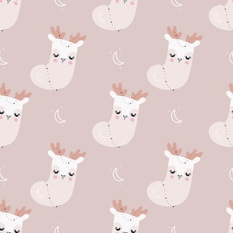 Seamless pattern with christmas socks and santa claus reindeer