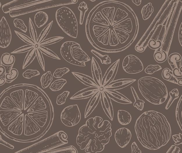 クリスマスのスパイスと柑橘系の果物とのシームレスなパターン